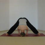 wide legged forward bend yoga pose